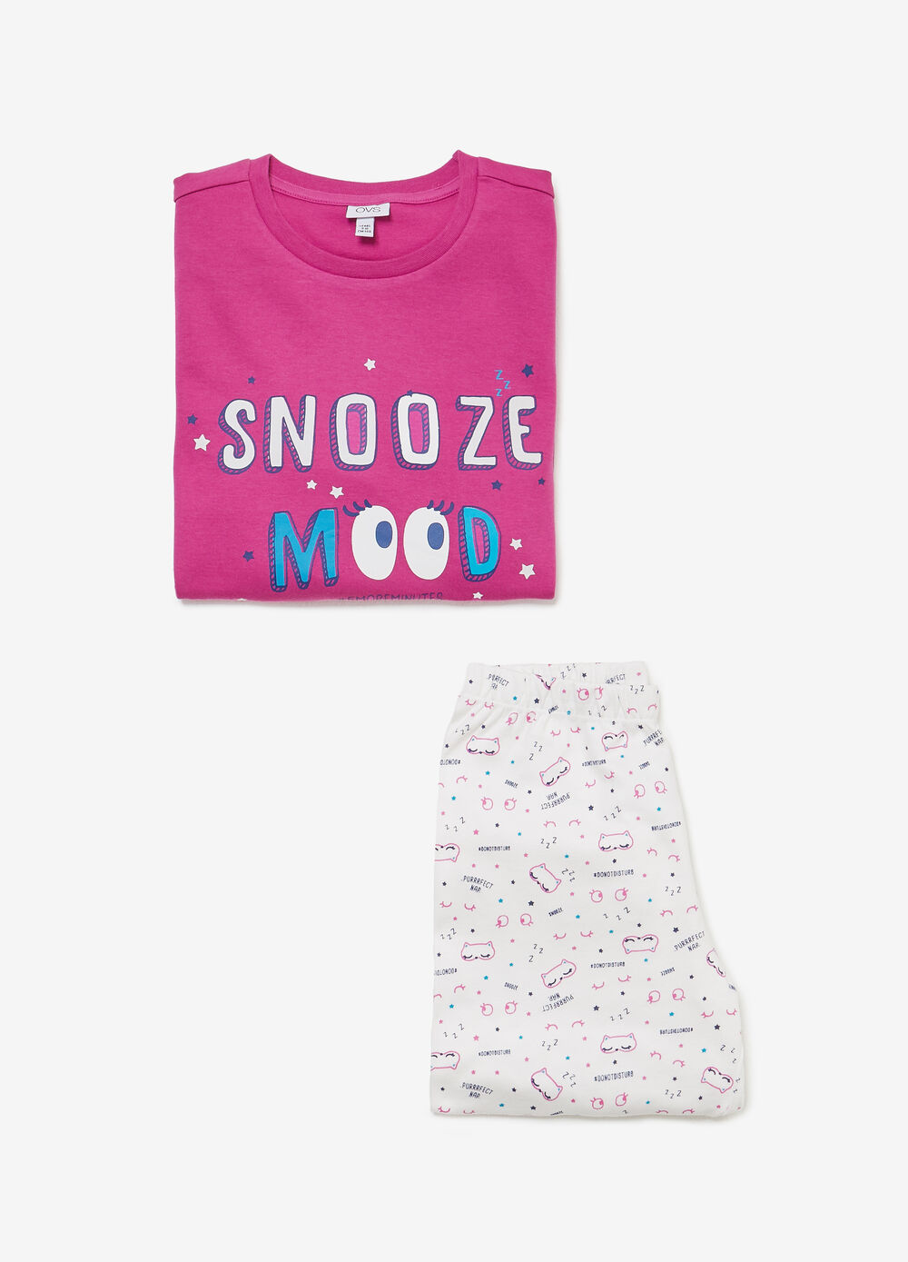Cotton pyjamas with lettering and cats