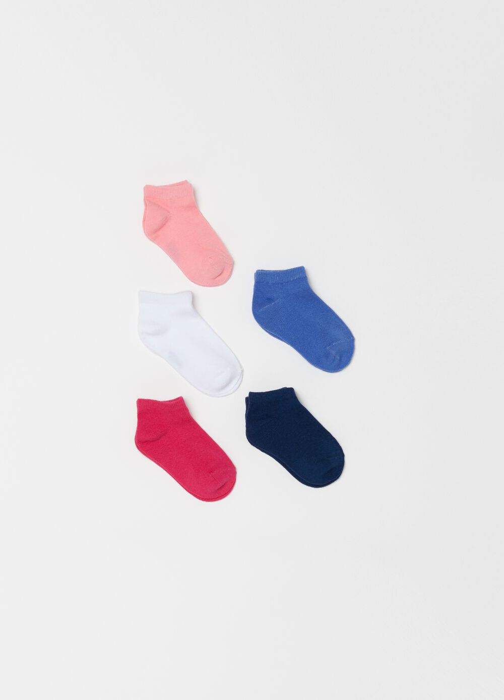 Five-pair pack short ribbed socks