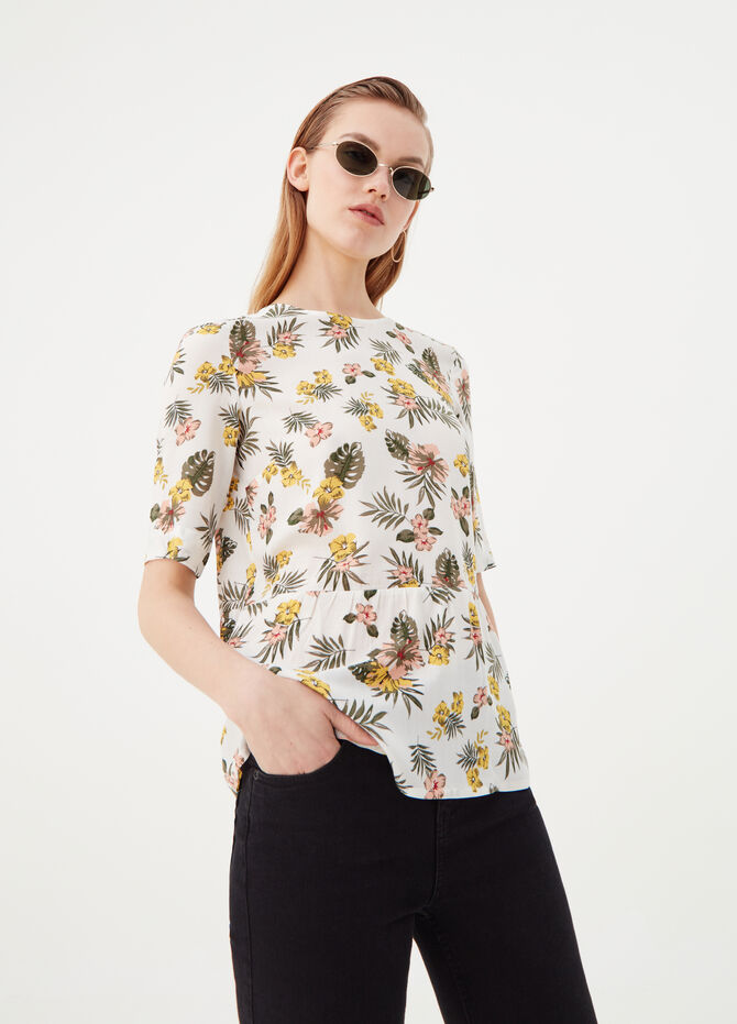Blouse in 100% viscose with bow