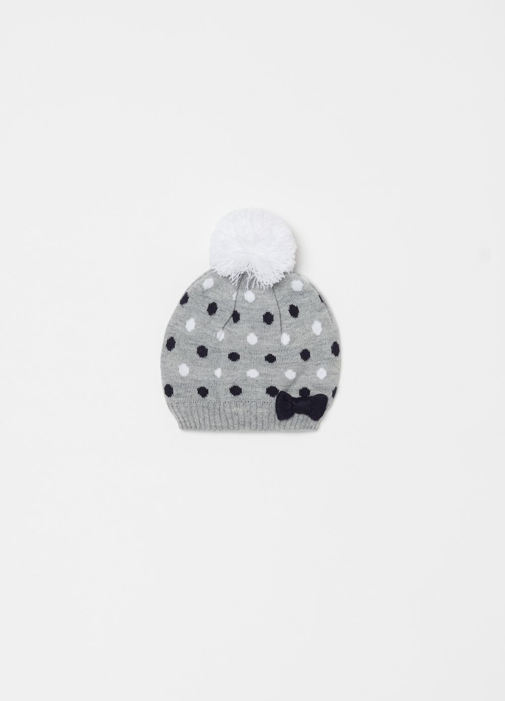Knitted hat with pompom and bow