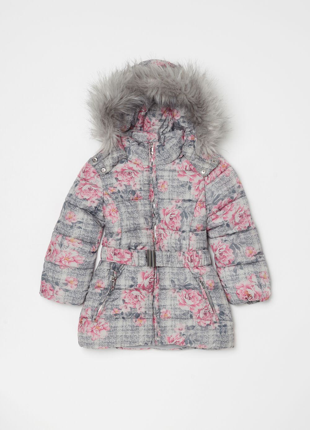 Long padded floral jacket
