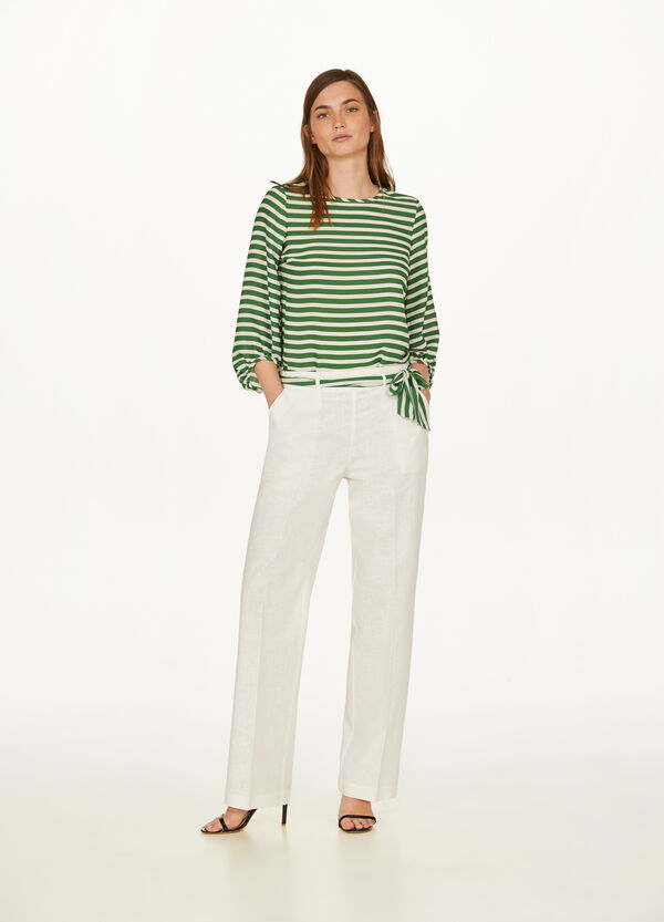 Linen and cotton blend elegant trousers