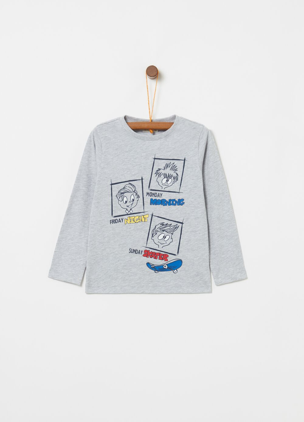 Long-sleeved mélange T-shirt with long sleeves and print