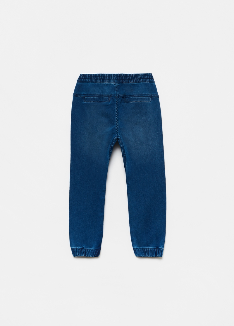 Denim joggers with drawstring image number null