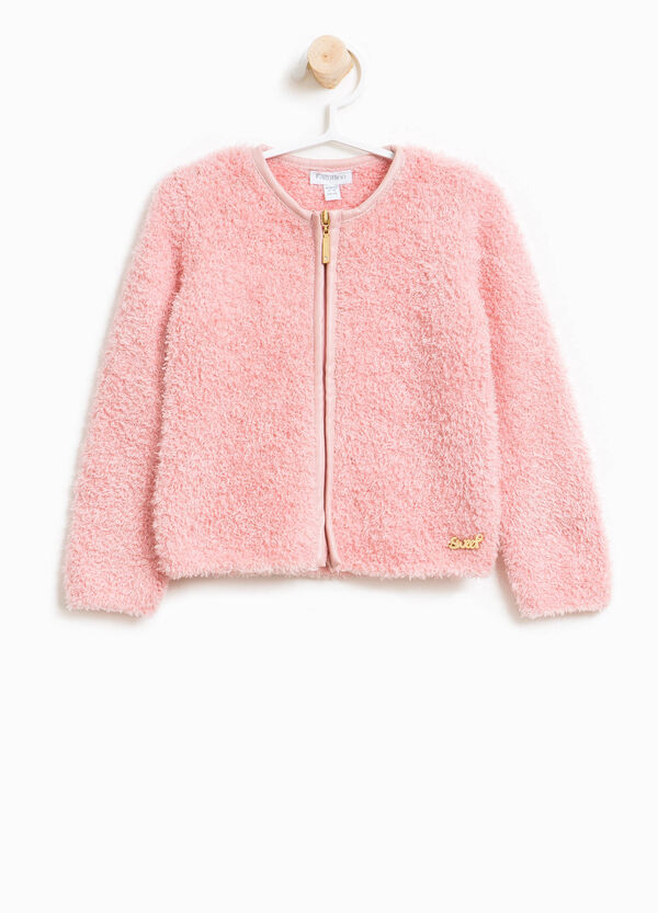 Frayed viscose pullover with zip | OVS