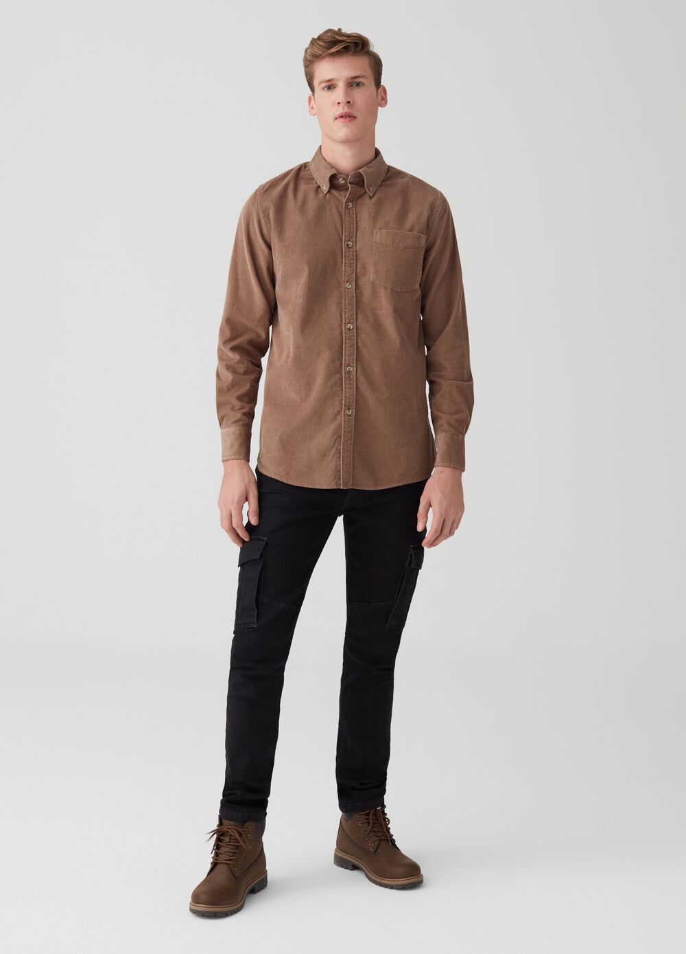Regular-fit velvet shirt with pocket