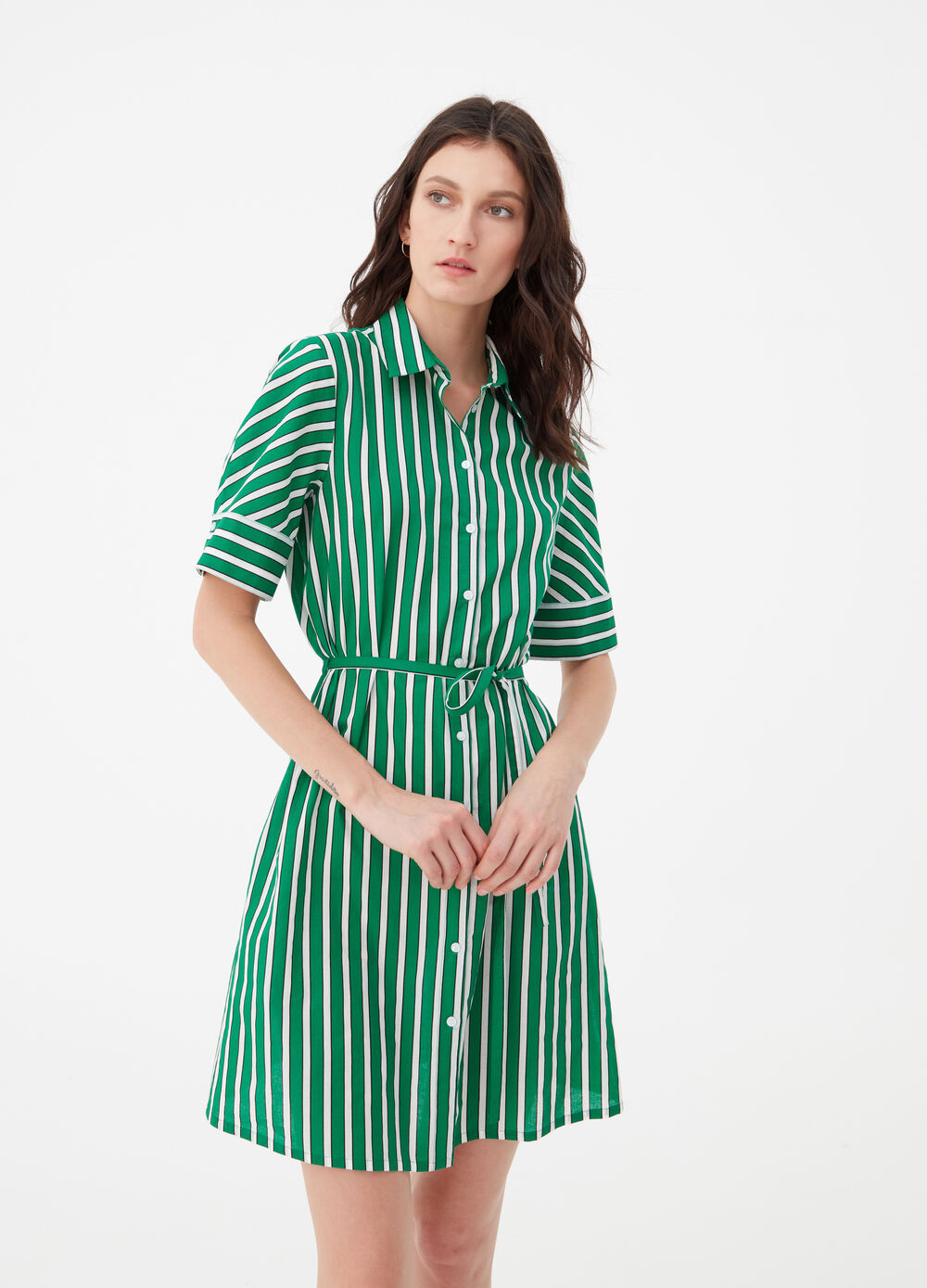 Striped dress in 100% cotton with short sleeves