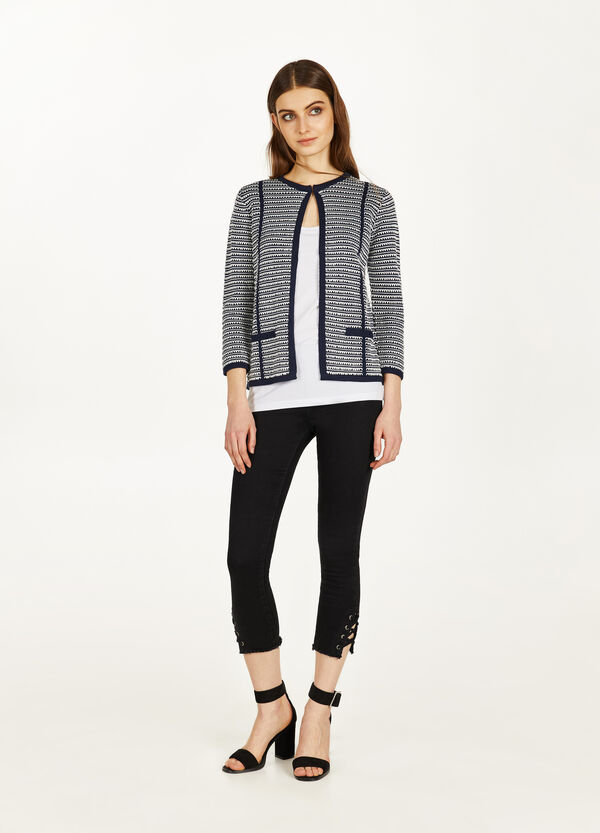 Viscose and cotton geometric cardigan