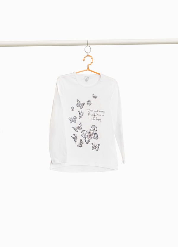 Stretch cotton T-shirt with butterfly print