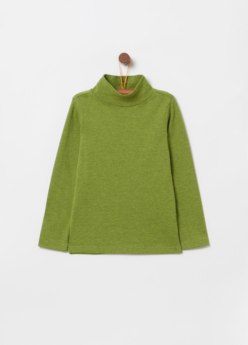 Mélange T-shirt with long sleeves and high neck