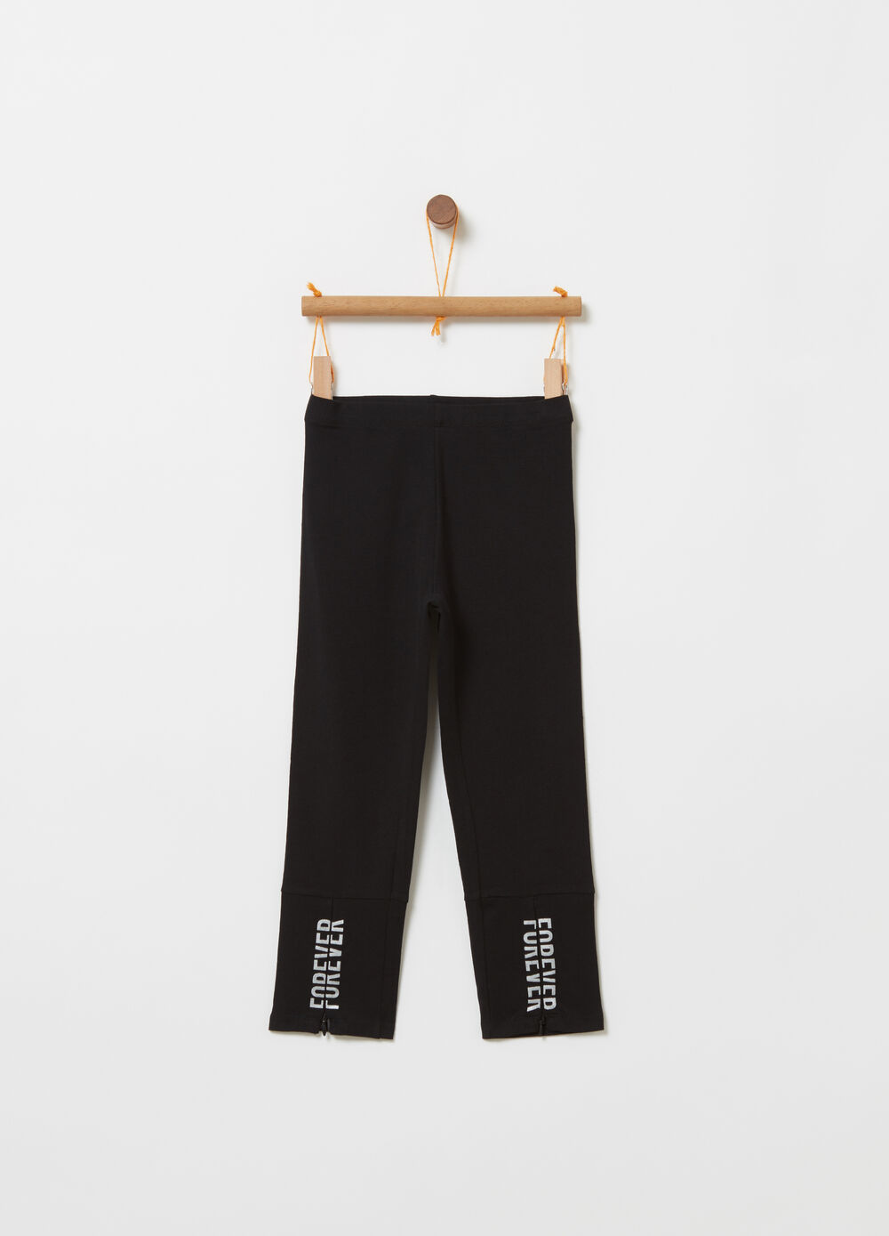 Leggings with zip and laminated print