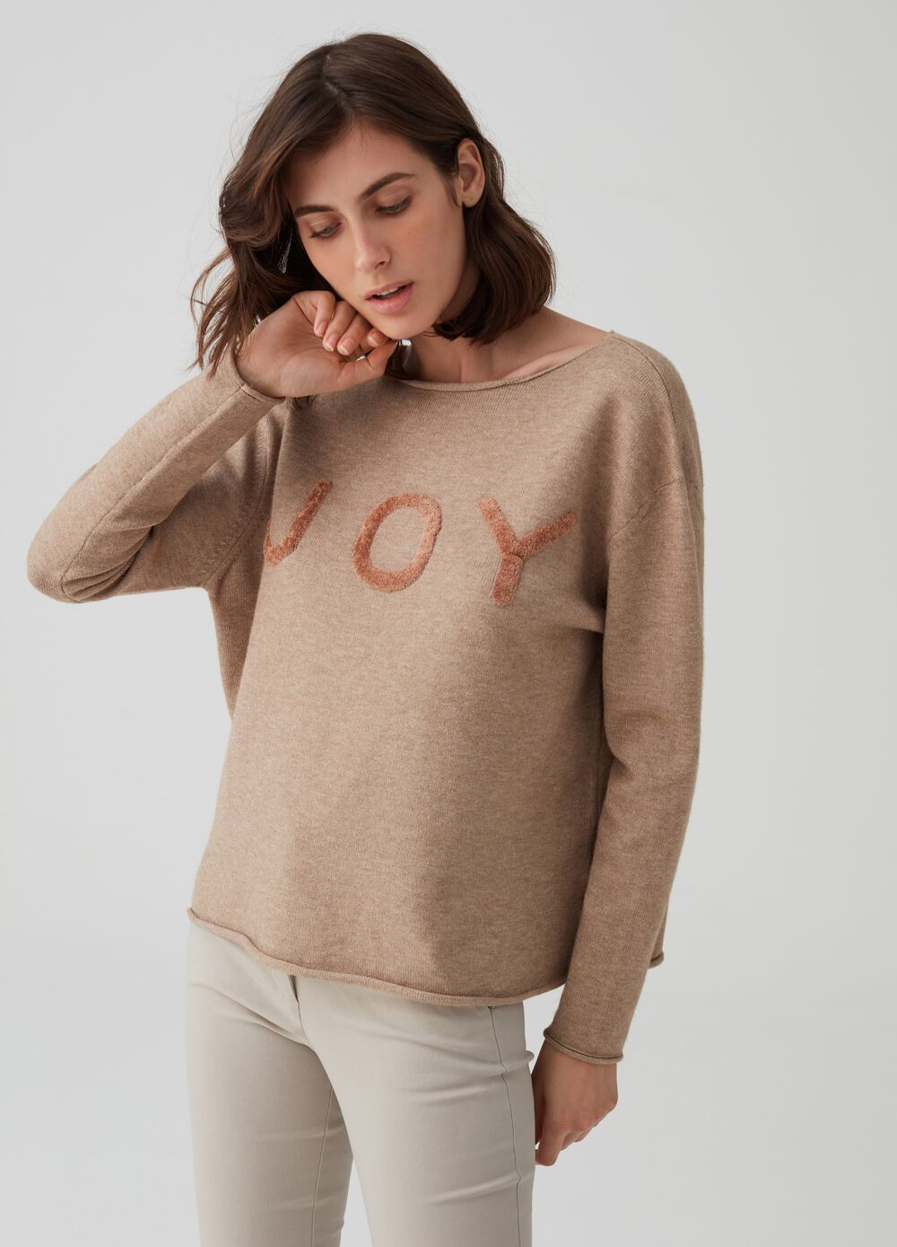 Mélange pullover with flocked lettering patches