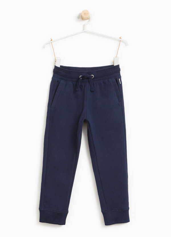Pantaloni tuta in puro cotone con patch