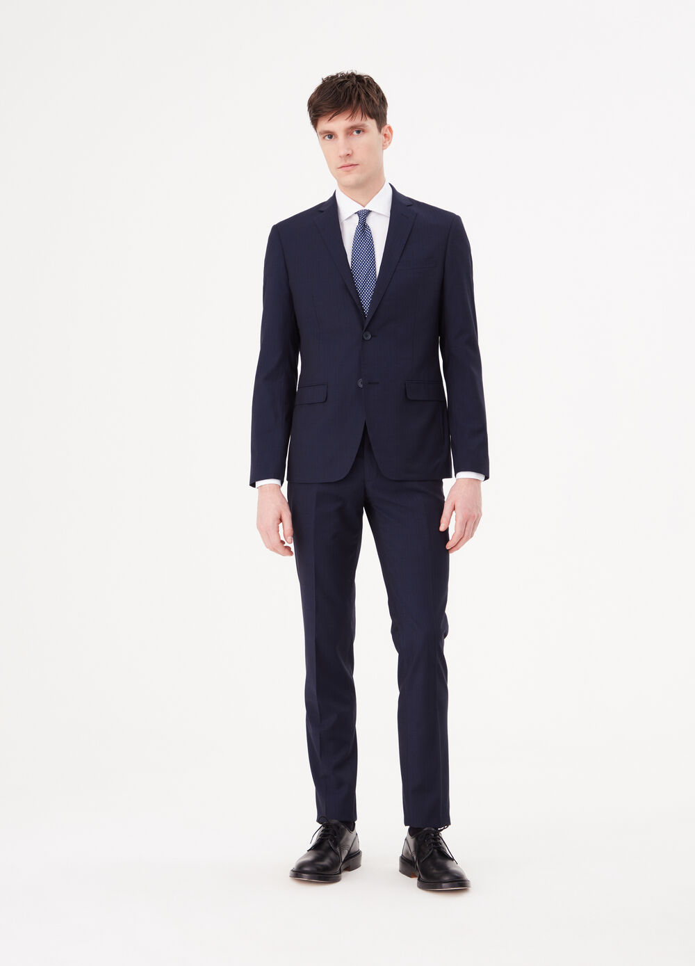 Slim-fit stretch suit with striped weave