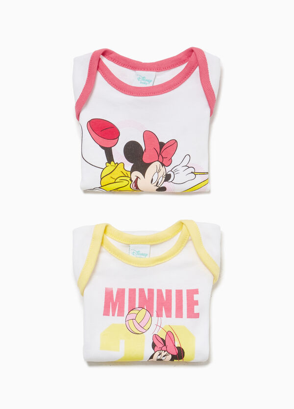 Two-pack bodysuit with Minnie Mouse print and trim