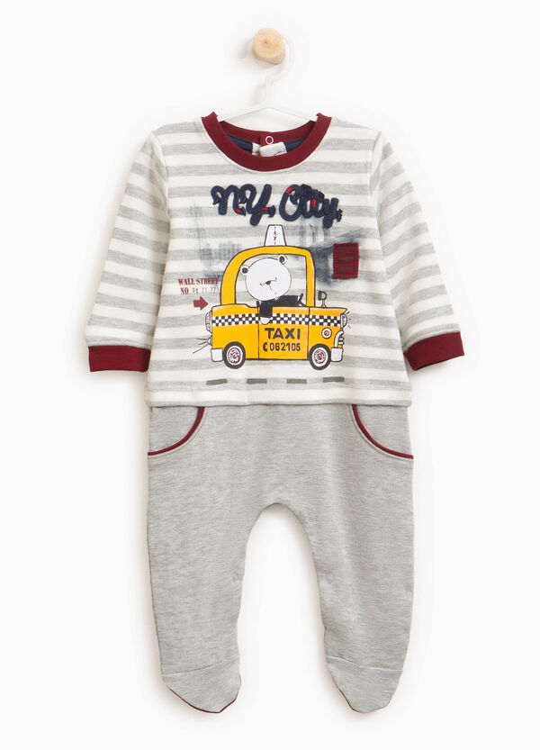 Sleepsuit in 100% cotton with stripes and print