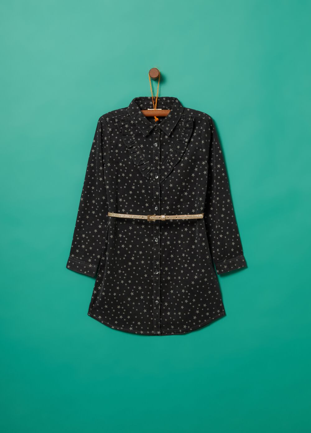 Corduroy shirt dress with pattern