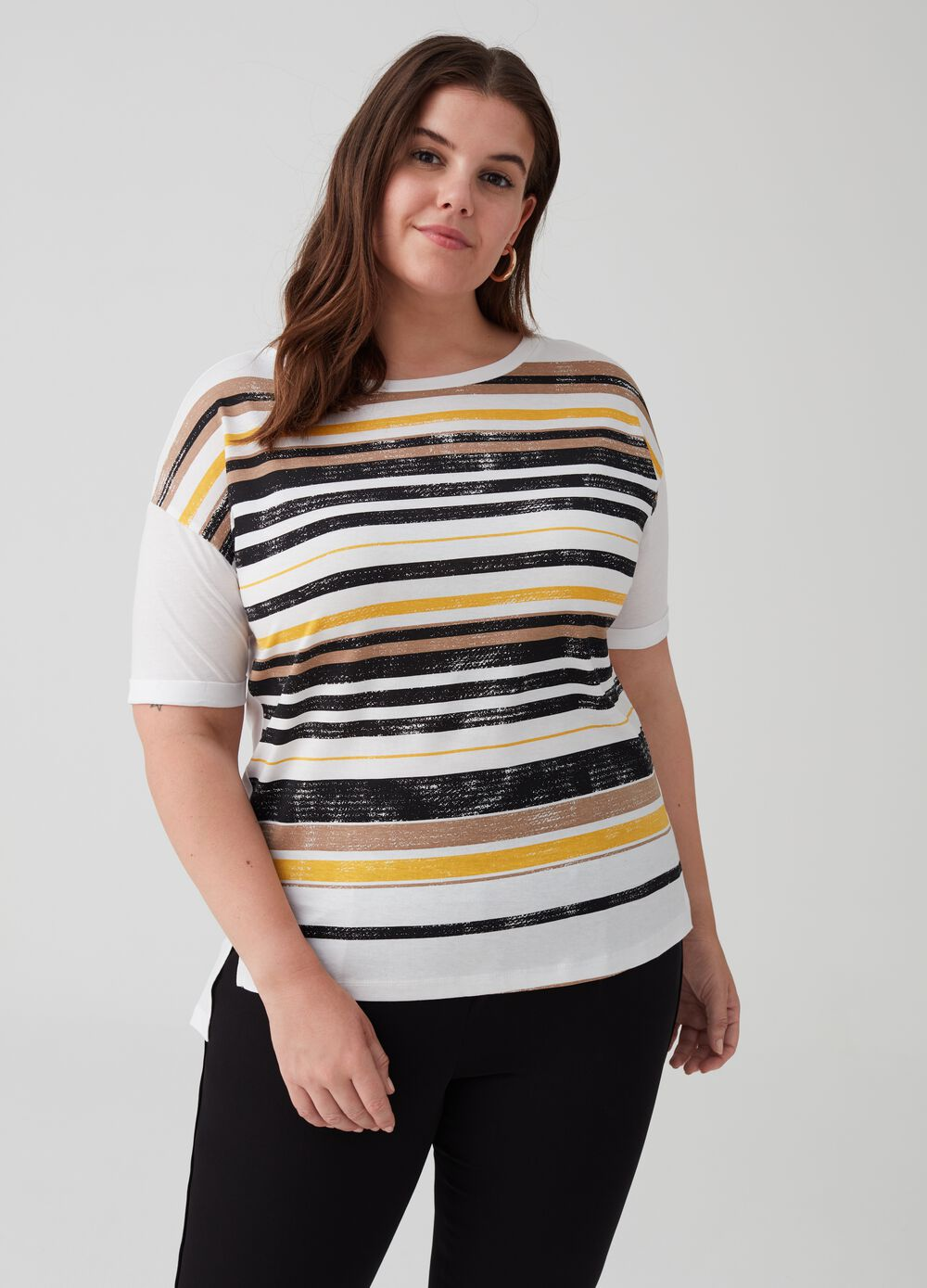 Curvy striped T-shirt in 100% cotton
