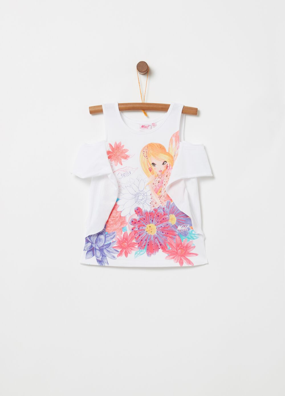 Stretch T-shirt with glitter Winx print and diamantés