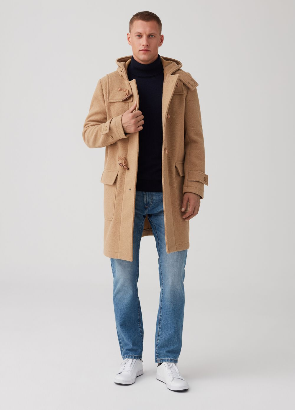 Oversized duffel coat with herringbone hood