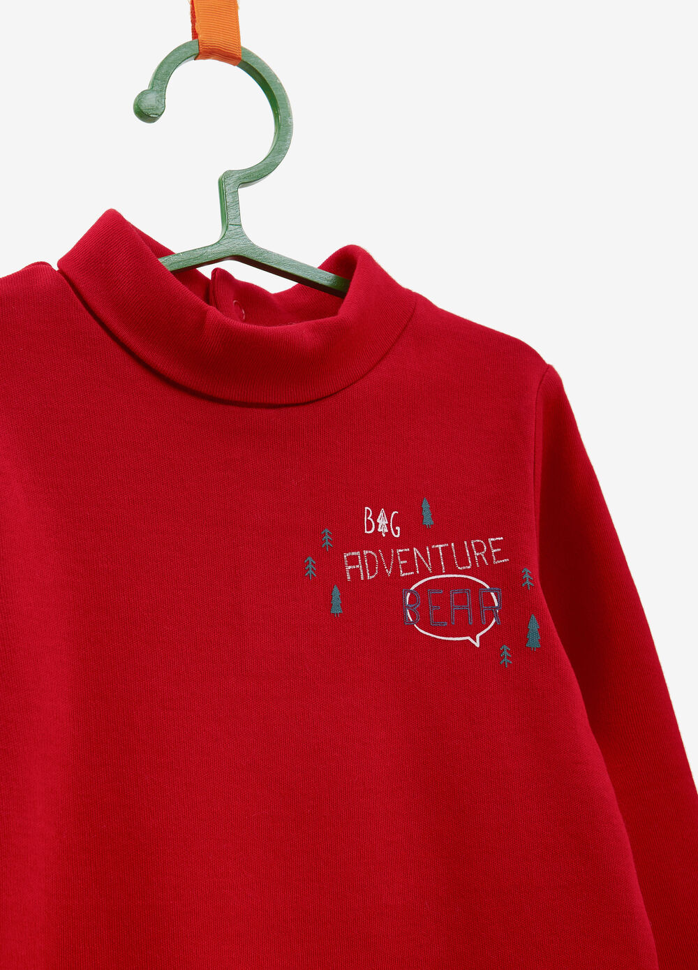 Turtleneck jumper in 100% cotton with tree print
