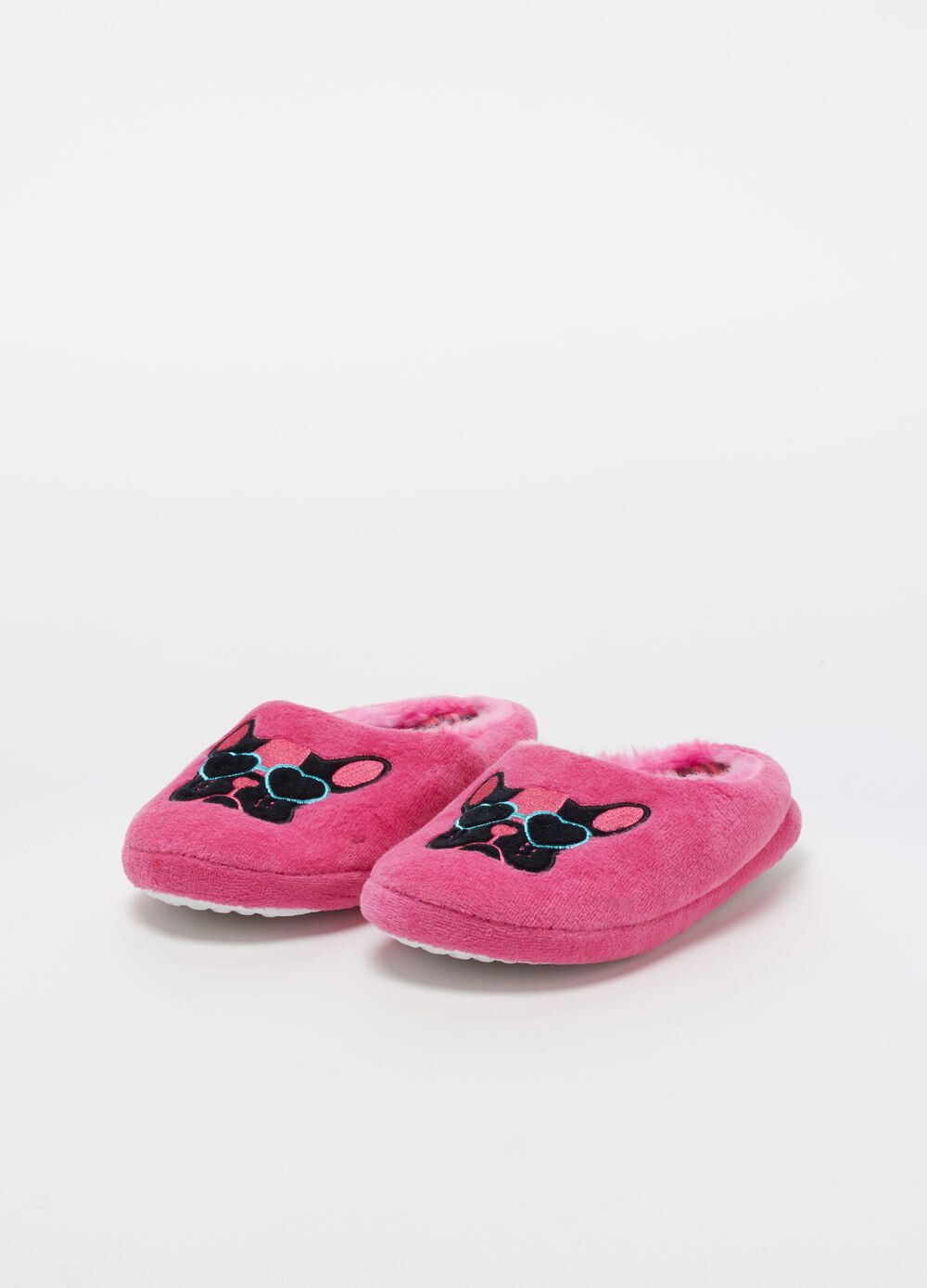 Fabric slippers with bulldog embroidery