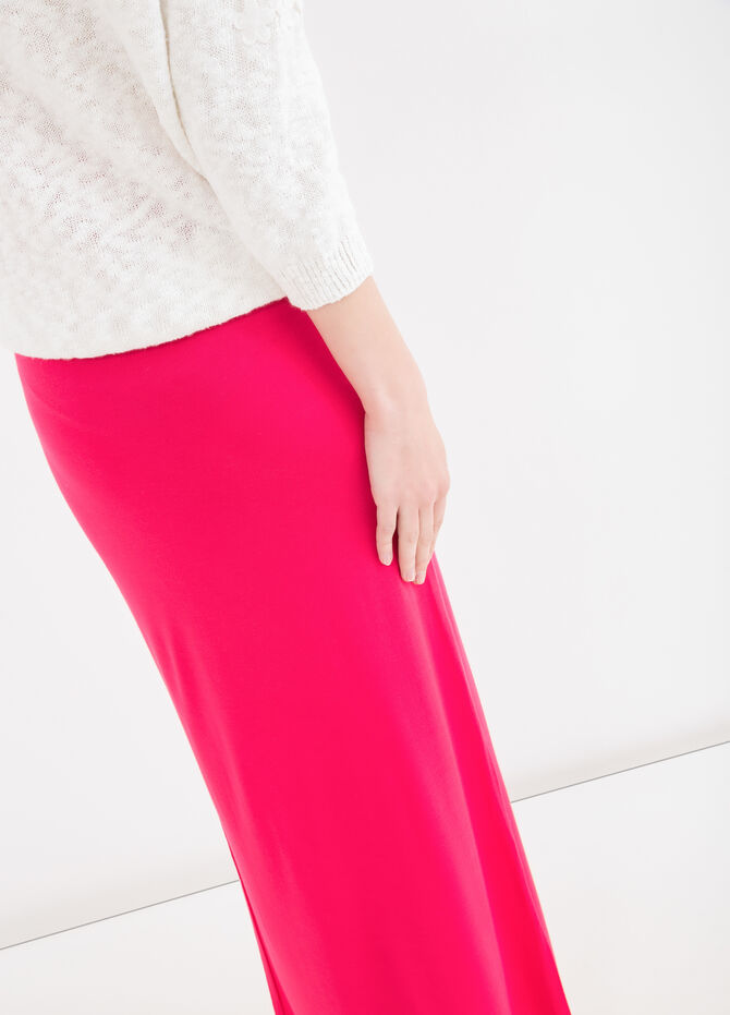 Solid colour, long viscose skirt
