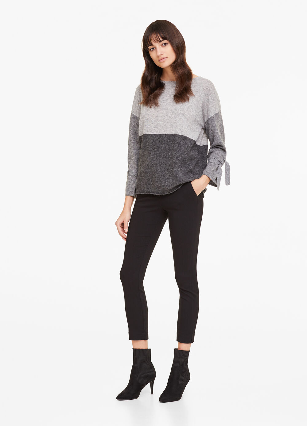 Knit two-tone pullover with ties