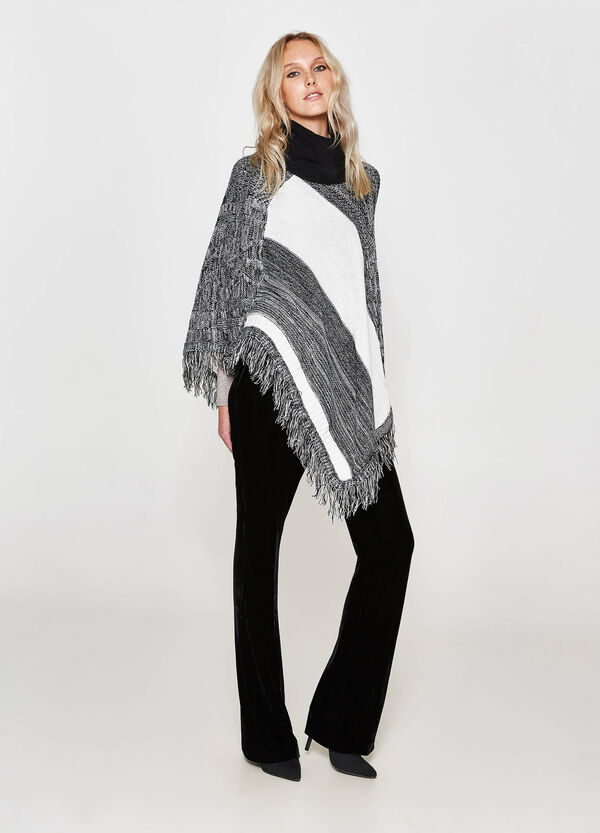 Two-tone poncho with fringe | OVS