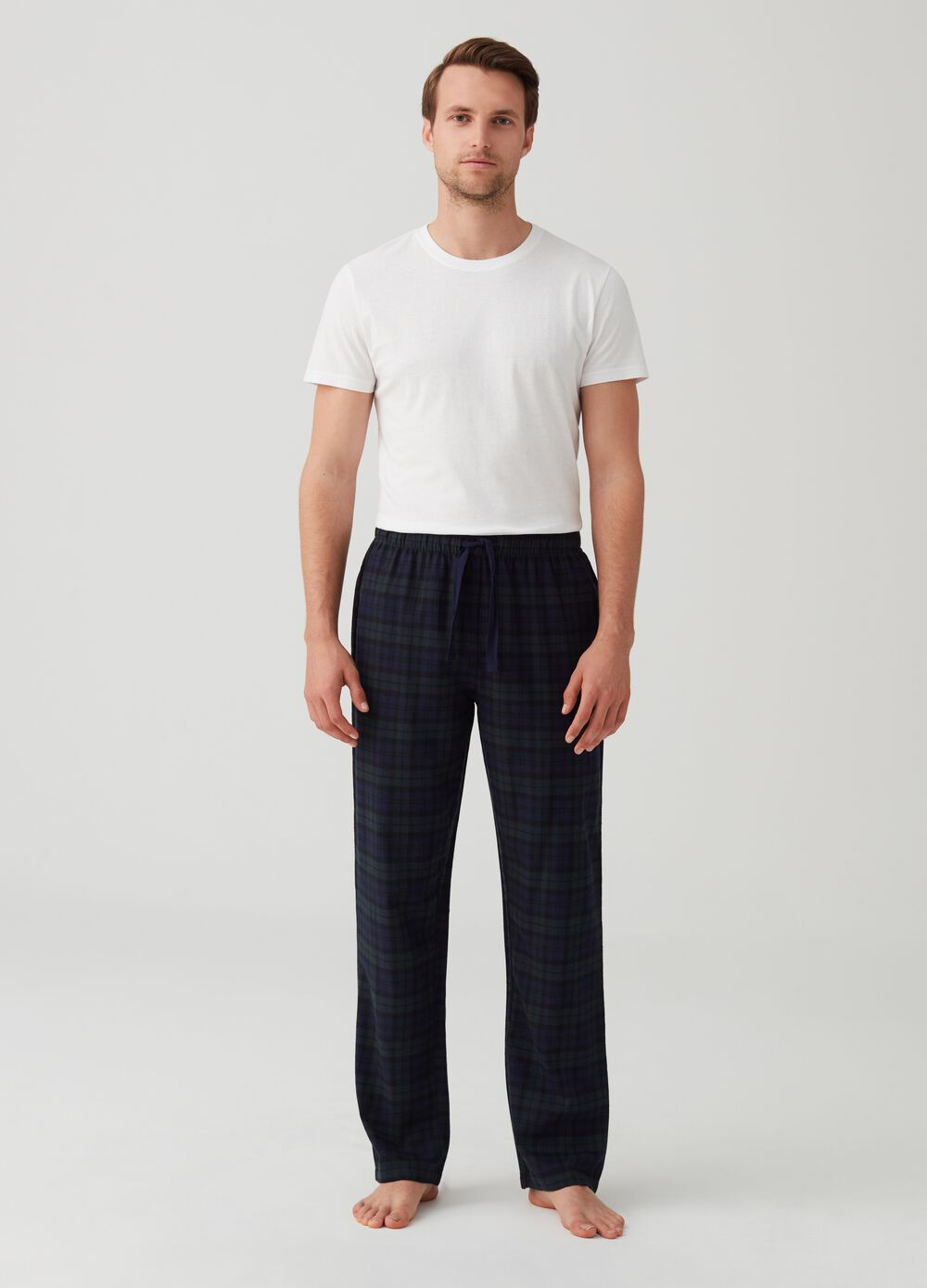 Flannel trousers with check pattern