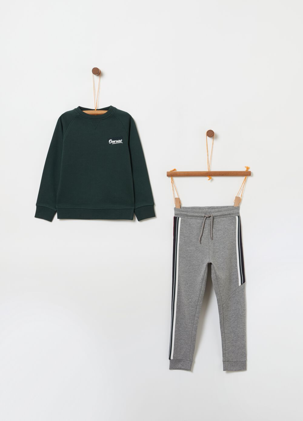 Jogging set con stampa e coulisse