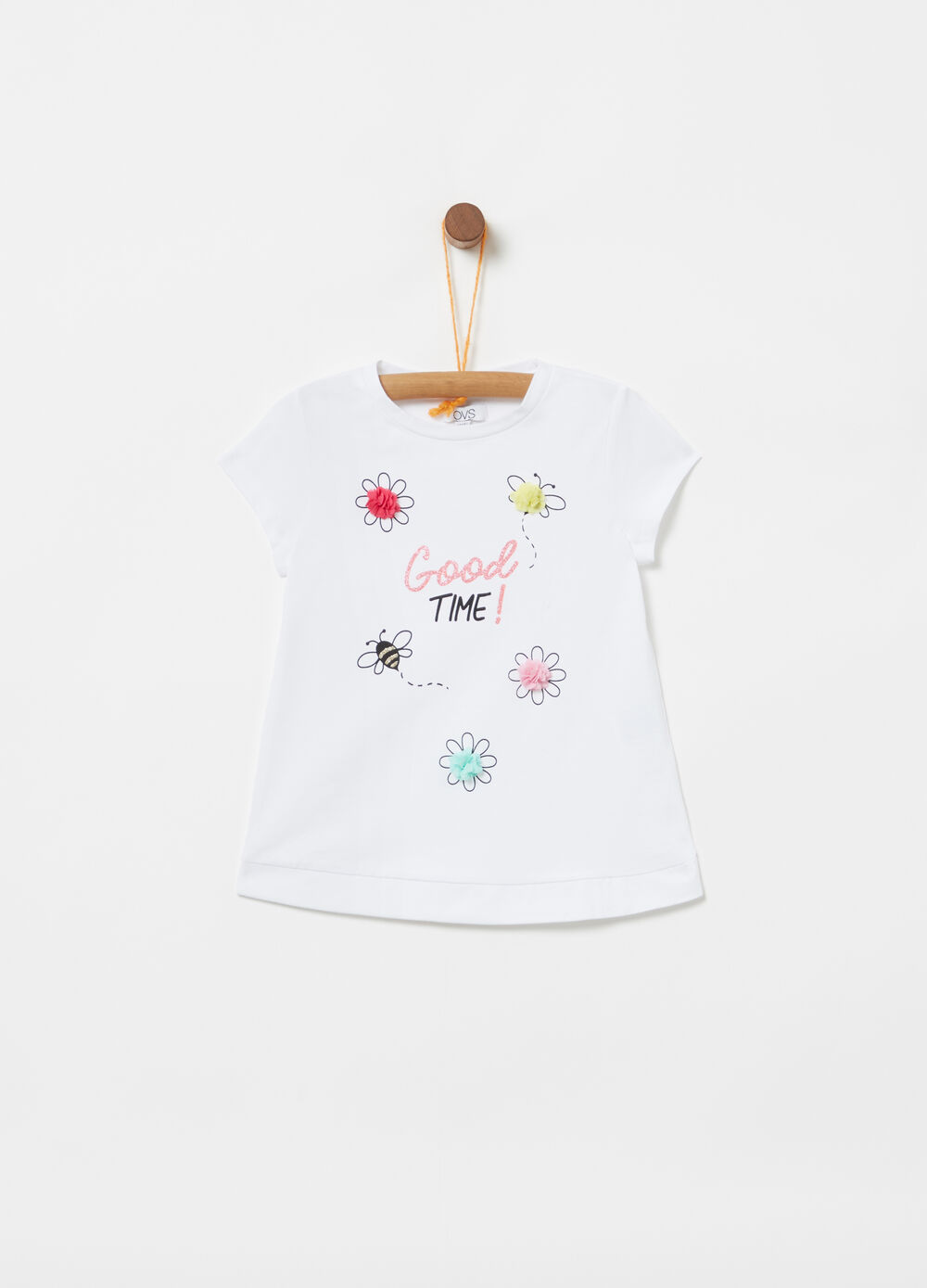 Jersey T-shirt with applications and glitter print