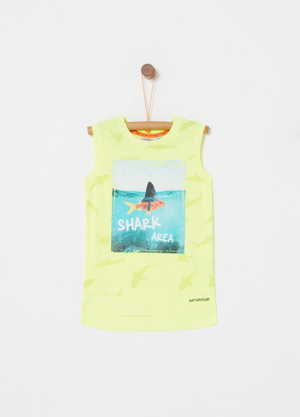 Vest with print and sharks pattern