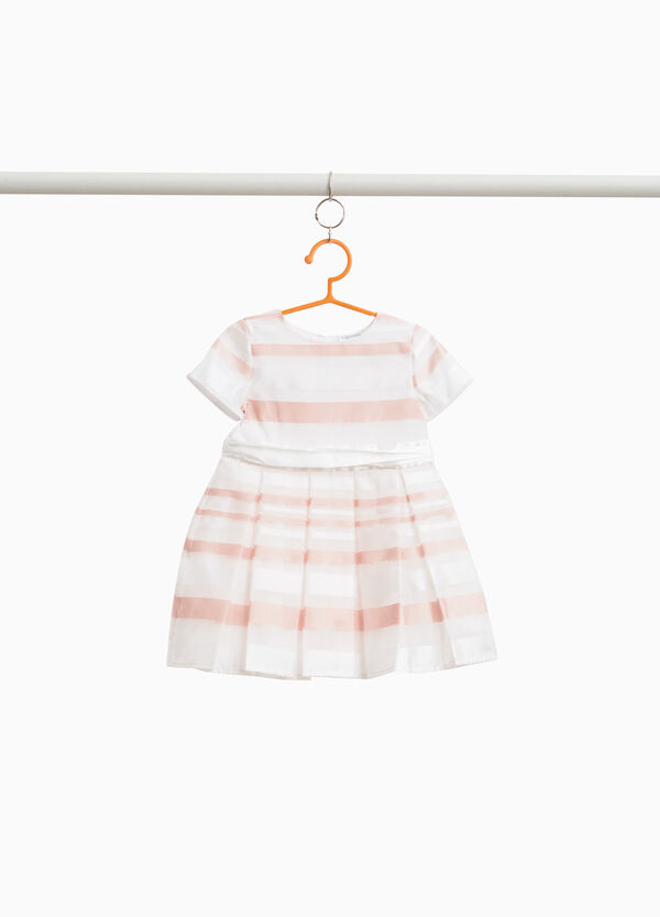 Striped dress with pleated skirt