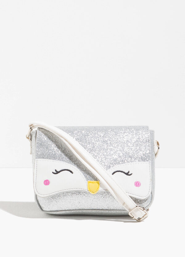 Glitter shoulder bag with fox embroidery