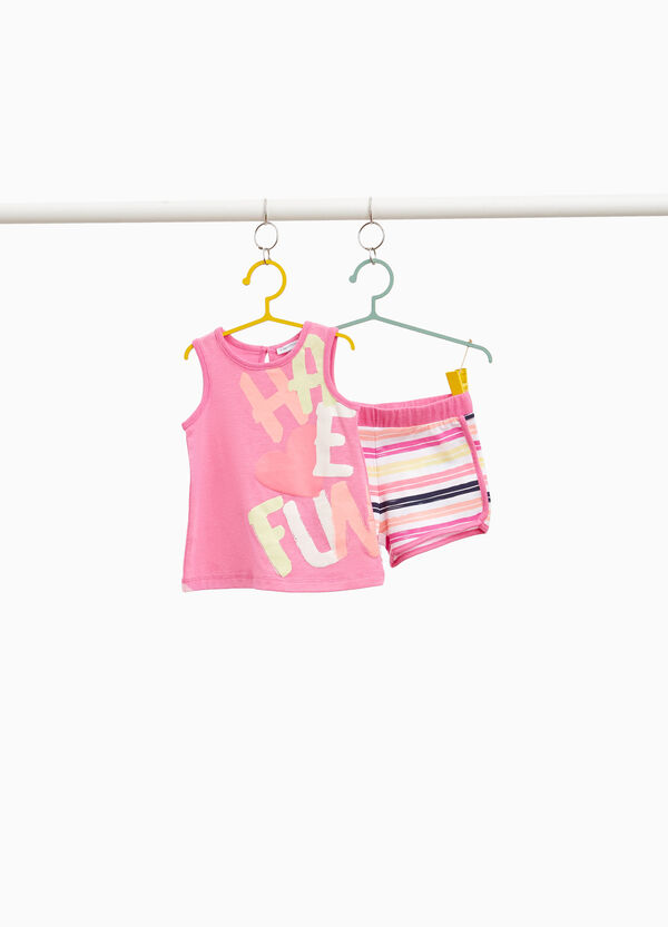 Stretch outfit with lettering and striped print