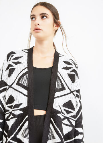 Knitted long cardigan with contrasting colour embroidery
