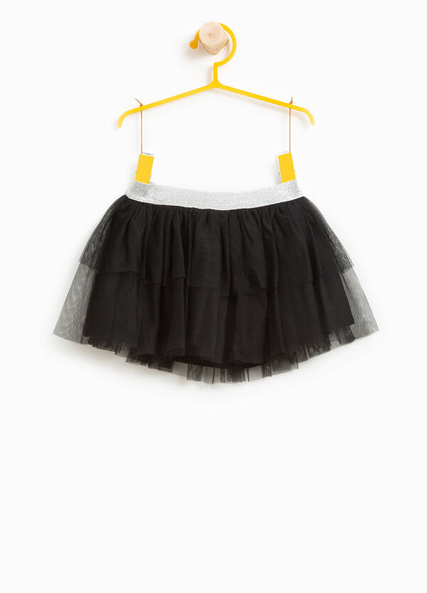 Flounced skirt in tulle with glitter waist | OVS