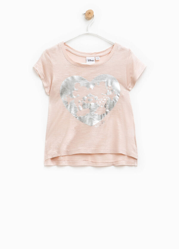 Glitter T-shirt with Mickey and Minnie Mouse