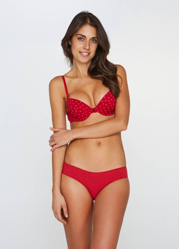 Push-up bra with heart pattern