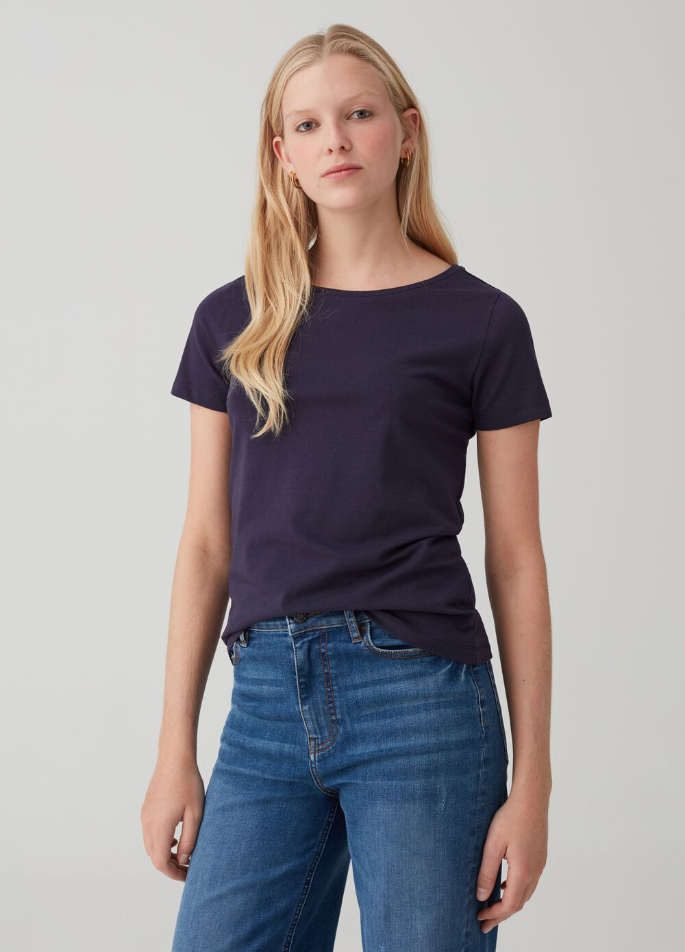 Boat neck stretch cotton T-shirt