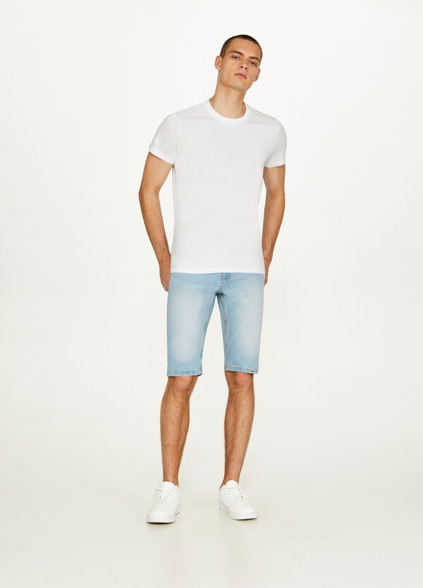 Washed-effect stretch denim Bermuda shorts