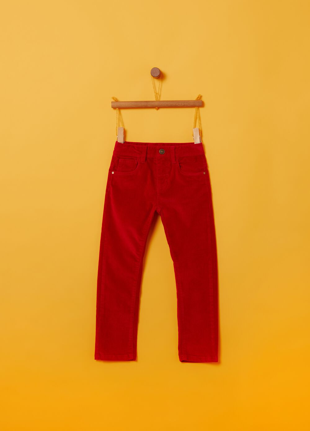 Corduroy cotton trousers with five pockets