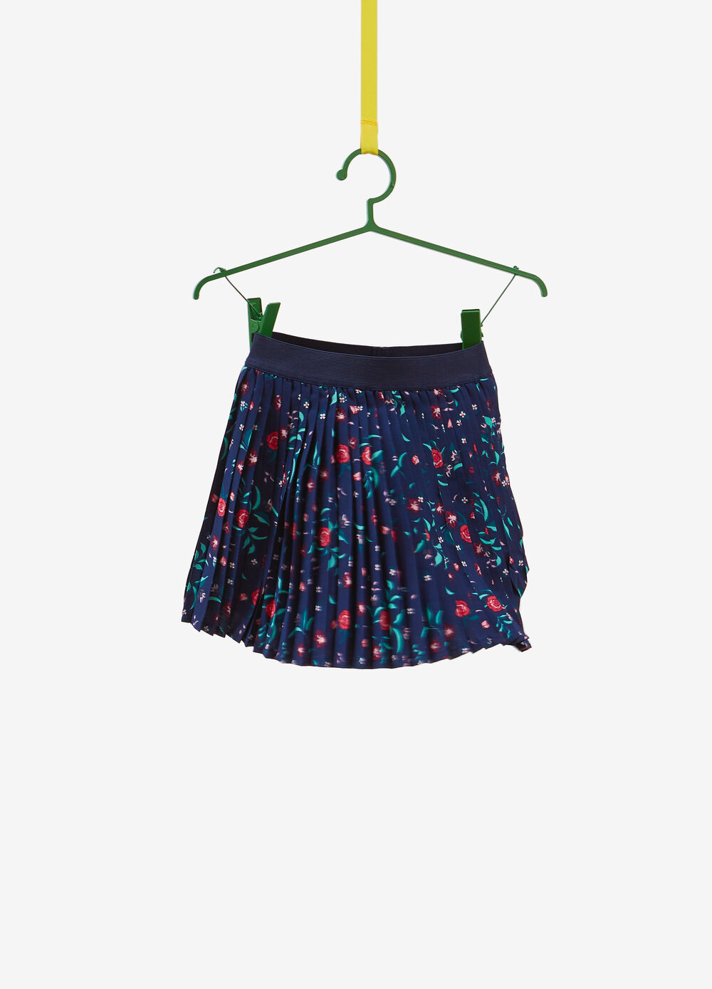 Skirt with floral print and elasticated waistband