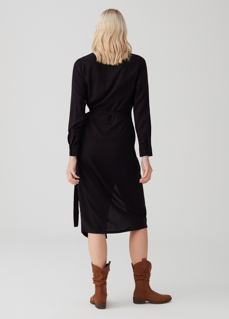 Crossover dress with fastening on the side image number null