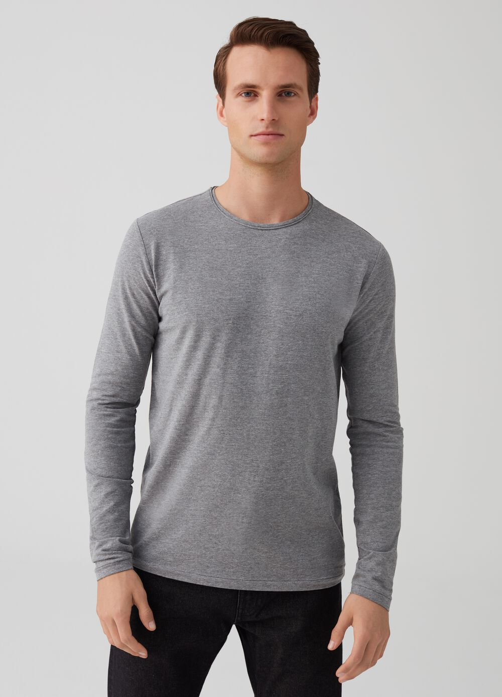 Mélange T-shirt with round neck