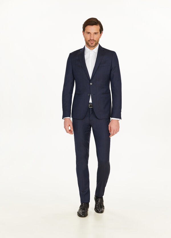 Slim-fit suit in 100% wool with speckled weave