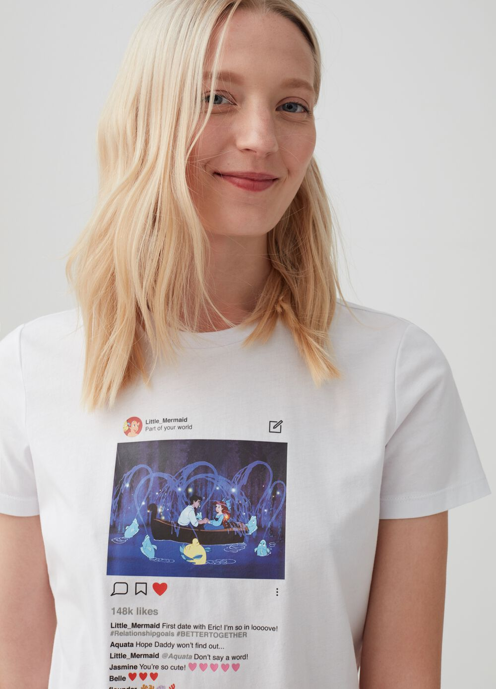 100% cotton T-shirt with The Little Mermaid print