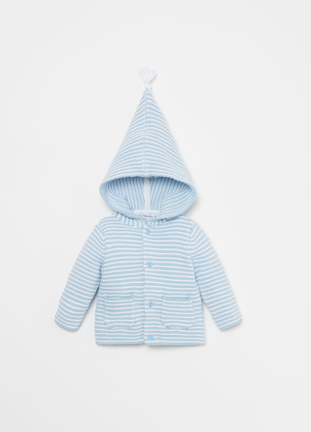Knitted cardigan with hood and striped pattern