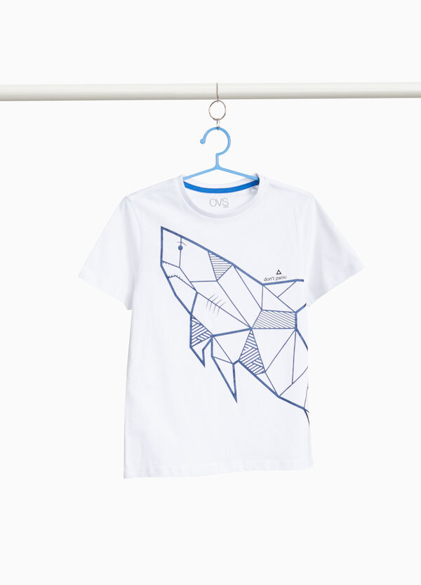 Shark print T-shirt in 100% cotton